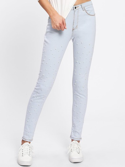 Faux Pearl Skinny Jeans