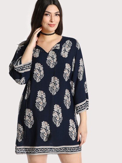 Tassel Tie Neck Tunic Dress