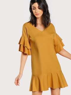 Layered Sleeve Ruffle Hem Dress