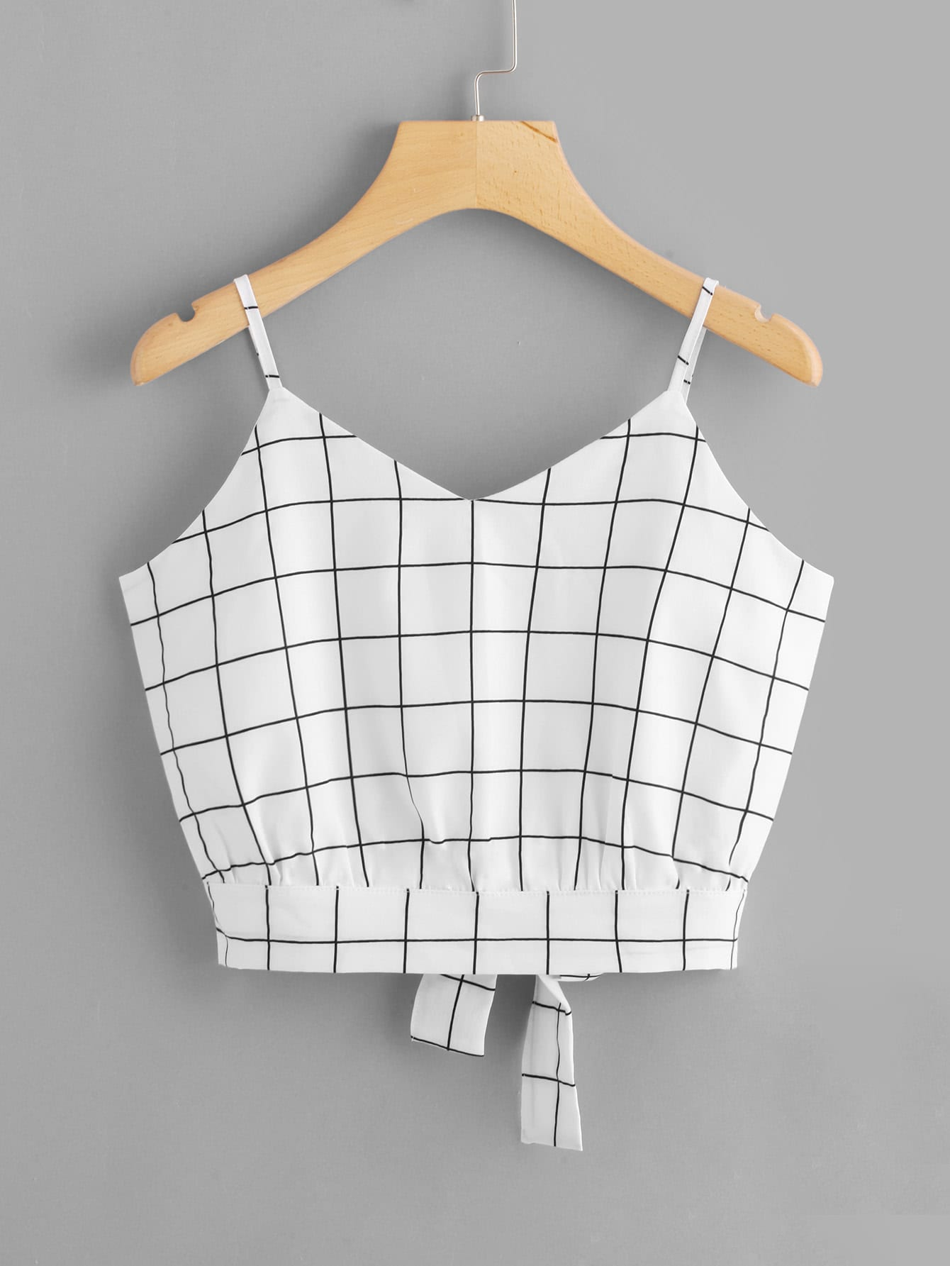 Checked Split Tie Back Crop Cami Top lace shoulder tie back crop top