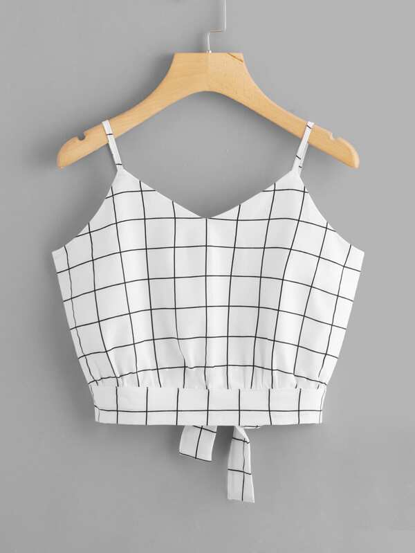 Checked Split Tie Back Crop Cami Top by Sheinside