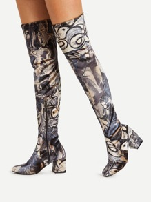 Mix Pattern Over Knee Block Heeled Boots