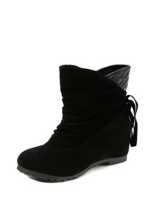 Lace Up Back Hidden Ankle Boots