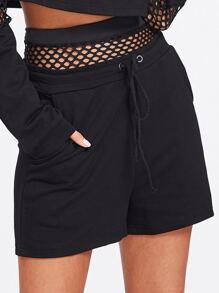 Shorts de cintura con cordón panel con malla