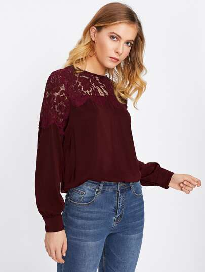 Hollow Out Eyelash Lace Panel Blouse