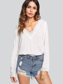Eyelet Embroidered Neck And Cuff Top