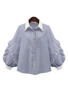 Exaggerated Bishop Sleeve Pearl Detail Shirt