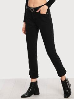 Belted Hem Crop Dark Jeans