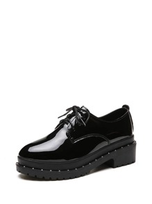 Studded Patent Leather Oxfords