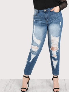 Ripped Distressed Denim Pants DENIM