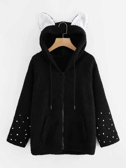 Cat Ear Hooded Pearl Detail Fluffy Coat
