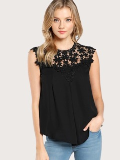 Guipure Lace Yoke Button Shell Top