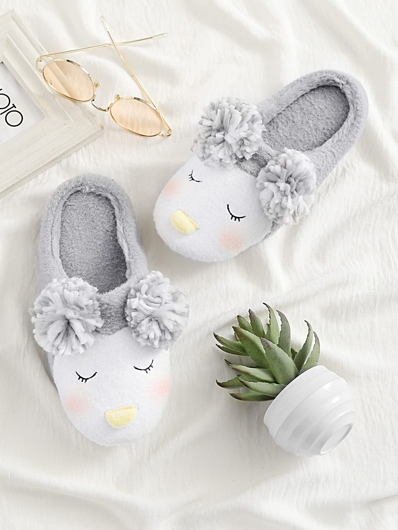 Image of Pom Pom Decorated Cute Slippers