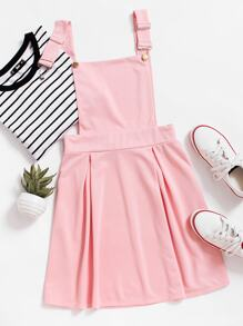 Pleated Zip Up Back Pinafore Dress