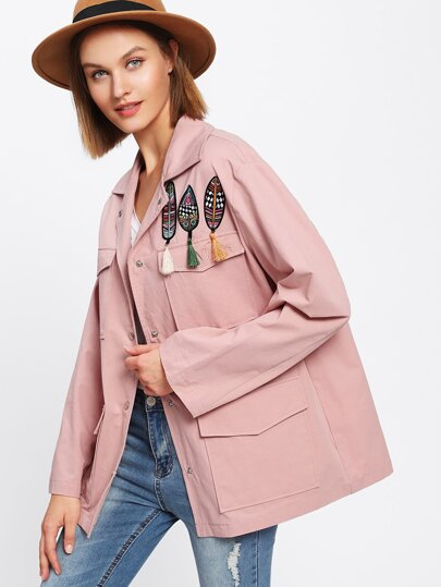 Leaf Embroidered Tassel Embellished Jacket