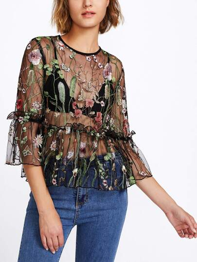 Frilled Trumpet Sleeve Tiered Botanical Mesh Top
