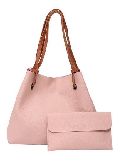 PU Drawstring Tote Bag With Clutch