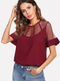 Illusion Debby Mesh Neck Top