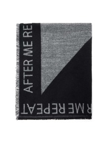 Frayed Trim Letter Tape Scarf