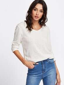 V Neckline Hooded Knit Sweater