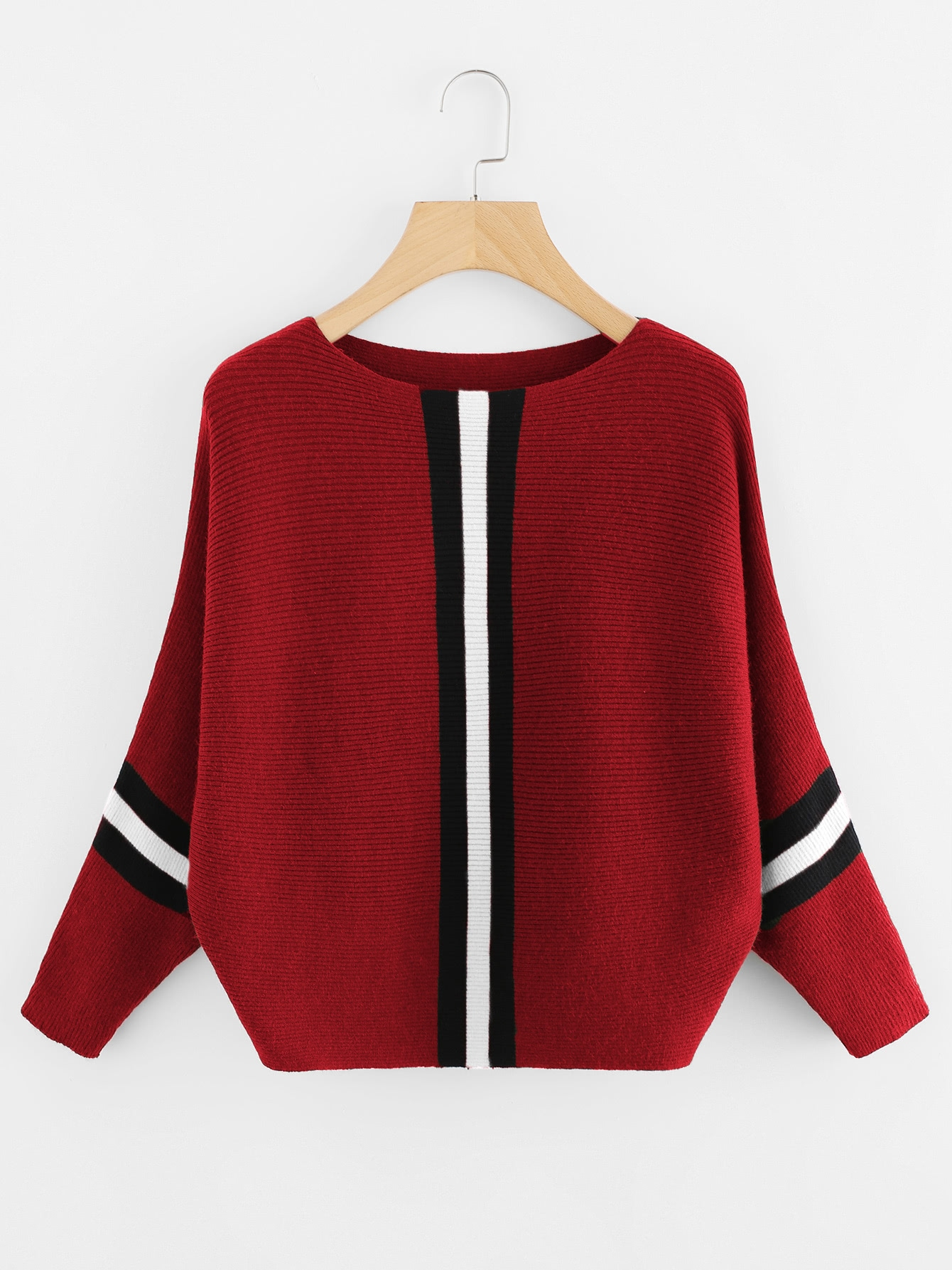 Contrast Striped Panel Ribbed Sweater sweater171106072