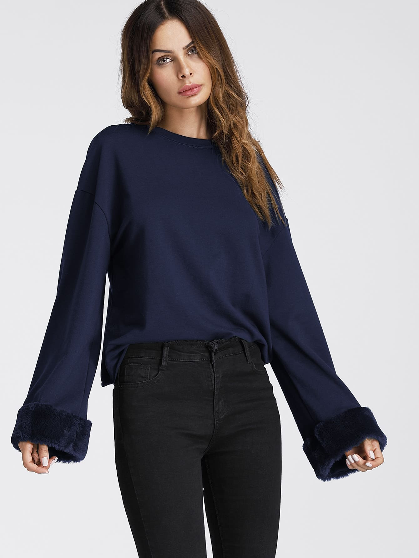Faux Fur Cuff Drop Shoulder Raw Hem Sweatshirt drop shoulder grommet tie detail sweatshirt