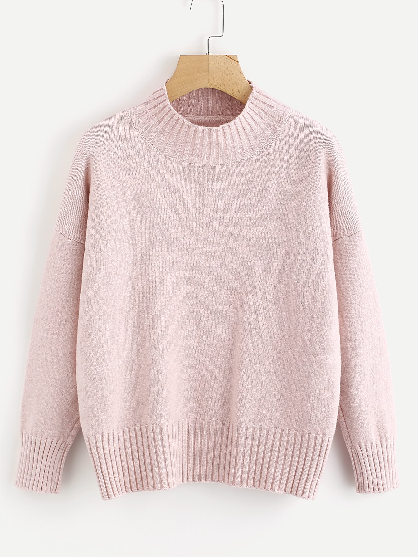 Drop Shoulder Ribbed Trim Knit Sweater