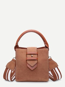 Suede Shoulder Bag With Striped Strap