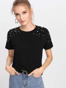 Pearl Beaded Shoulder Top