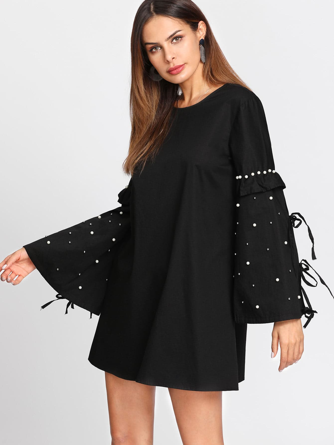 Pearl Embellished Frill Bell Sleeve Dress pearl detail layered frill sleeve top