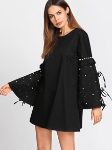 Pearl Embellished Frill Bell Sleeve Dress