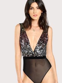 Contrast Sequin Plunging Cami Bodysuit