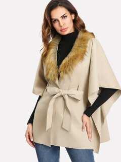 Faux Fur Trim Poncho Coat