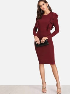 Solid Symmetric Ruffle Trim Pencil Dress