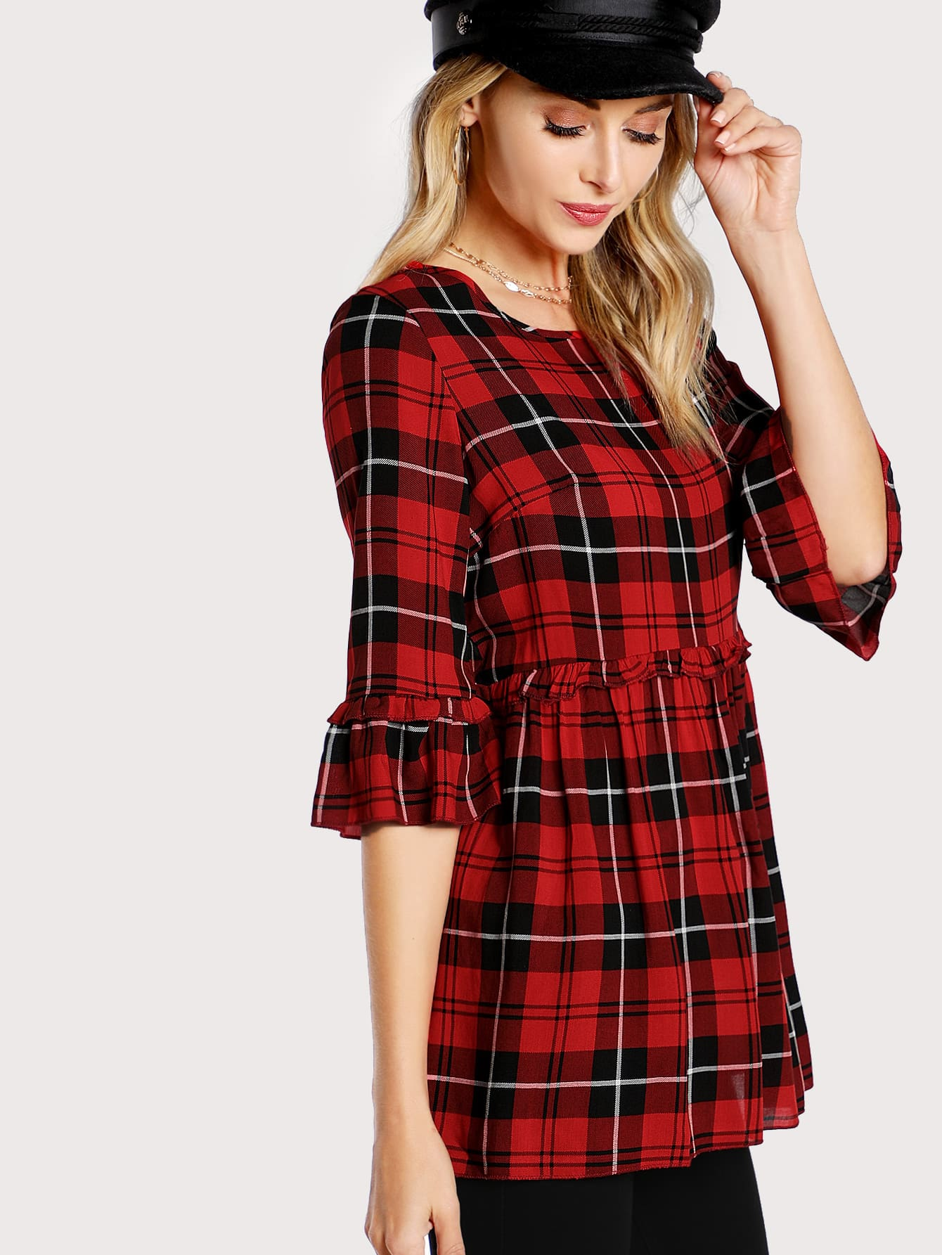 Frill Detail Trumpet Sleeve Checked Smock Top люстра подвесная 2673 4 odeon light