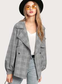 Notch Collar Self Belted Gingham Coat
