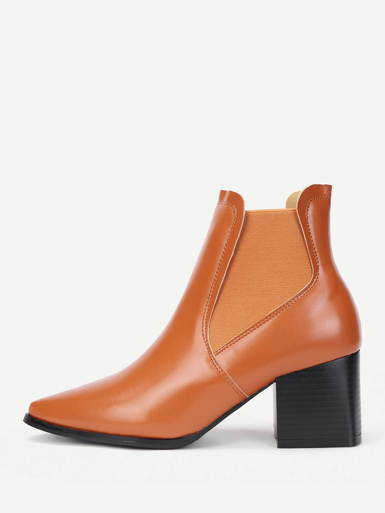 Pointed Toe Faux Leather PU Boots