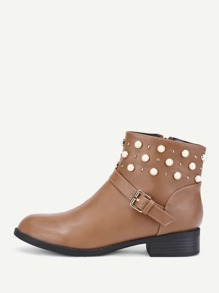 Faux Pearl Detail PU Ankle Boots