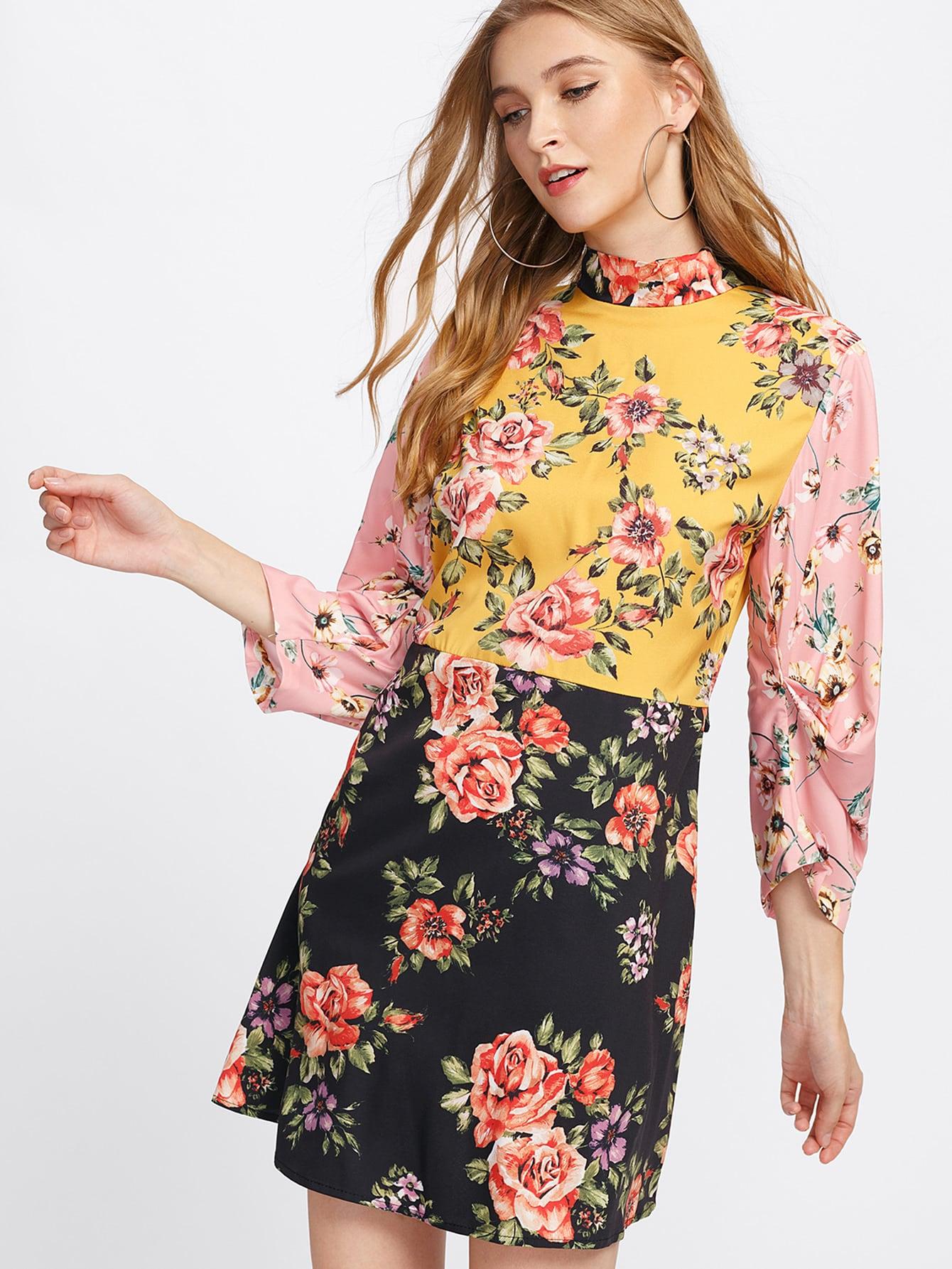 Tie Back Floral Dress tie back floral dress