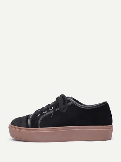 Lace Up Flatform Velvet Sneakers