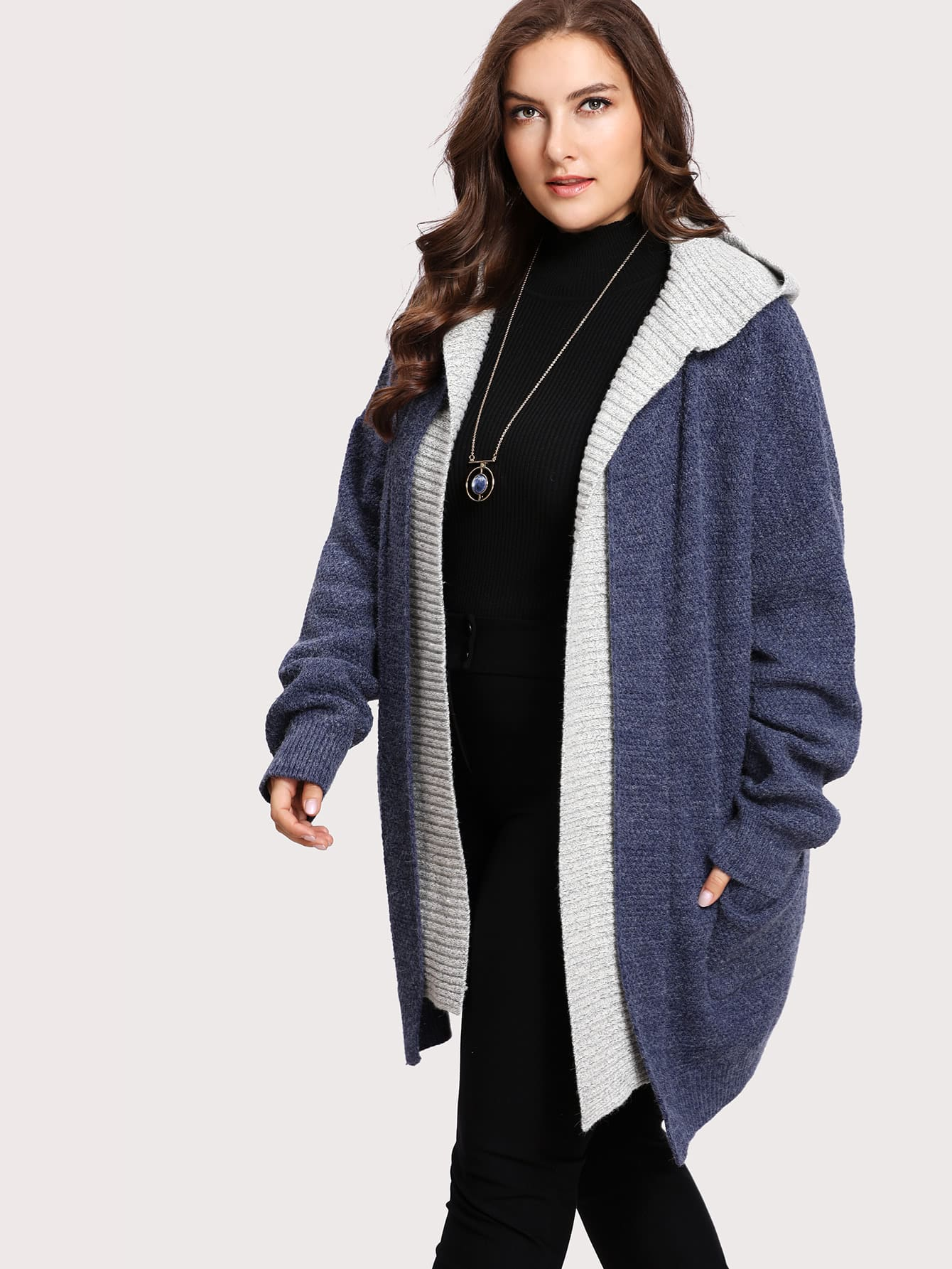 Pocket Patch 2 In 1 Hoodie Cardigan