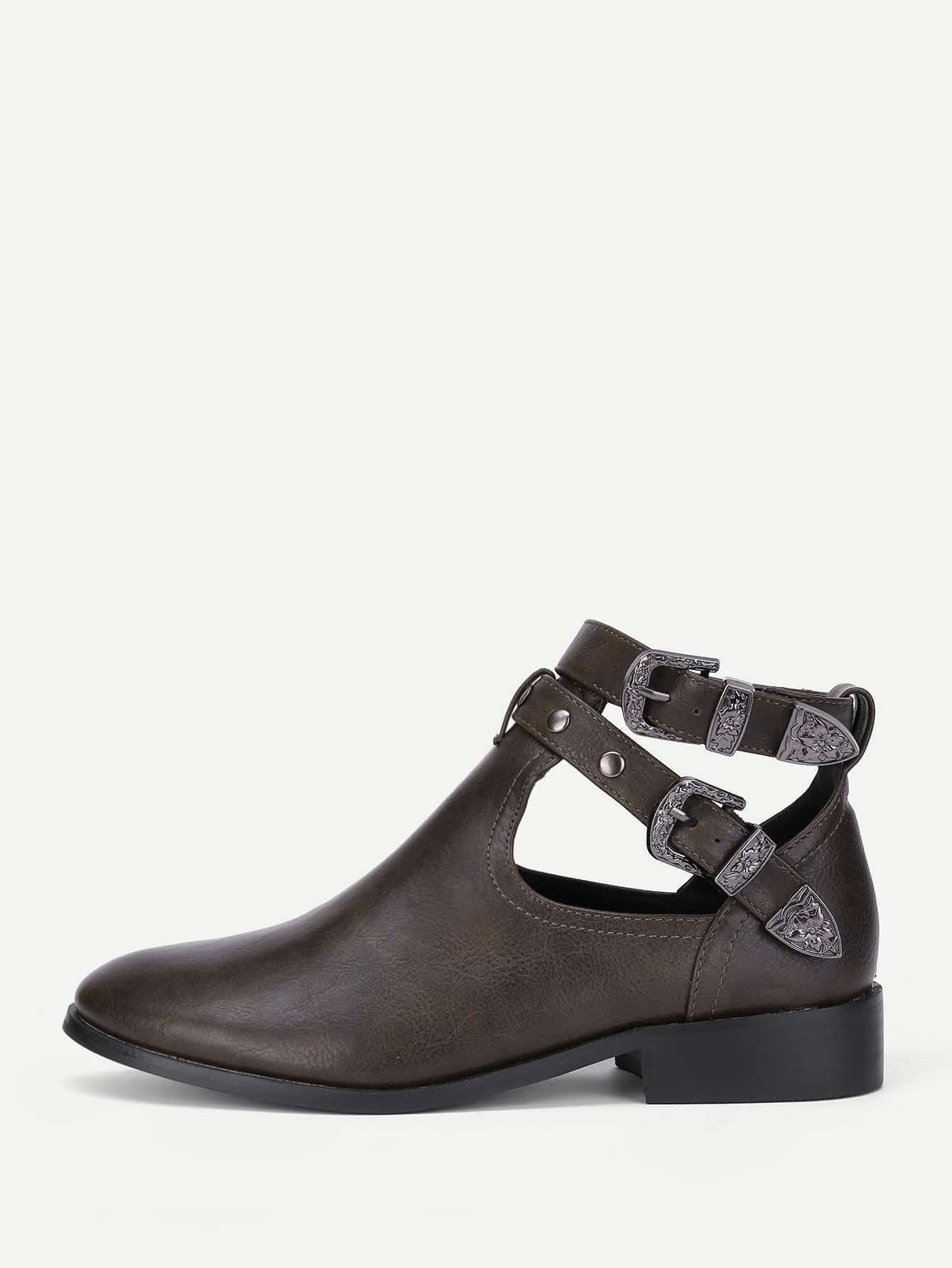 Cut Out Buckle Decorated Flat Boots