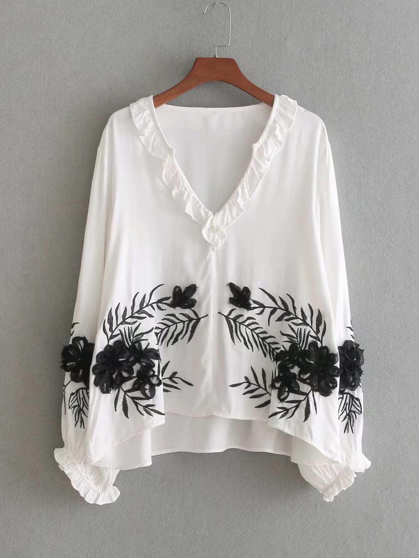 Купить Модная блуза с оборкой и аппликацией, null, SheIn