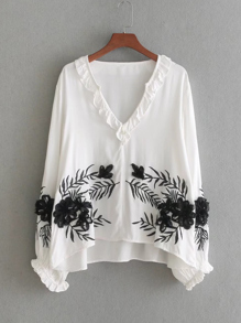 Contrast Flower Applique Ruffle Detail Blouse
