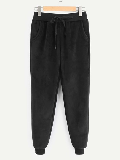 Drawstring Waist Faux Fur Lined Pants