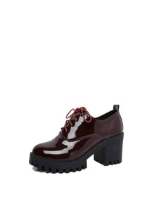 Patent Leather Lug Sole Heeled Oxfords