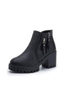 Side Zip Lug Sole Heeled Boots
