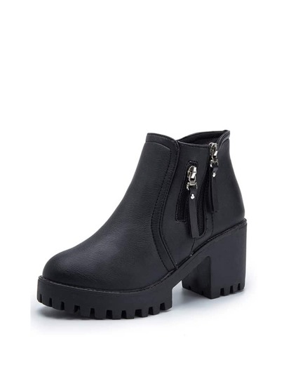Side Zip Lug Sole Heeled Boots