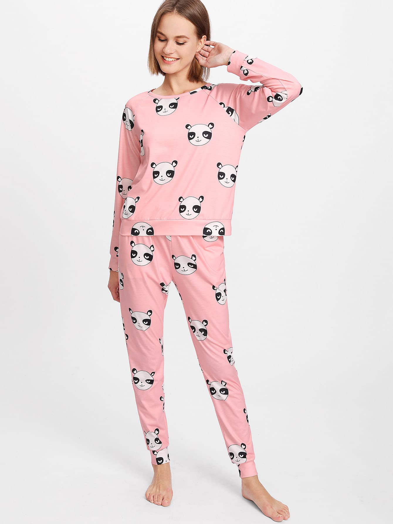Image of Allover Panda Printed Raglan Sleeve Top & Sweatpants Pajama Set
