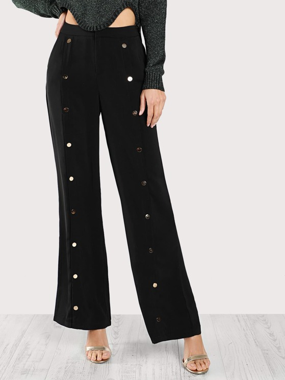 d02b2bf235 Front Gold Snap Button Pants BLACK | MakeMeChic.COM